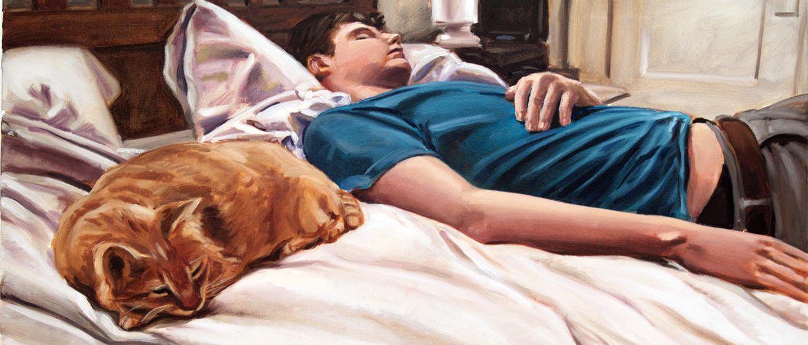 Sleeper with Cat; oil on canvas, 24 x 36, 2015