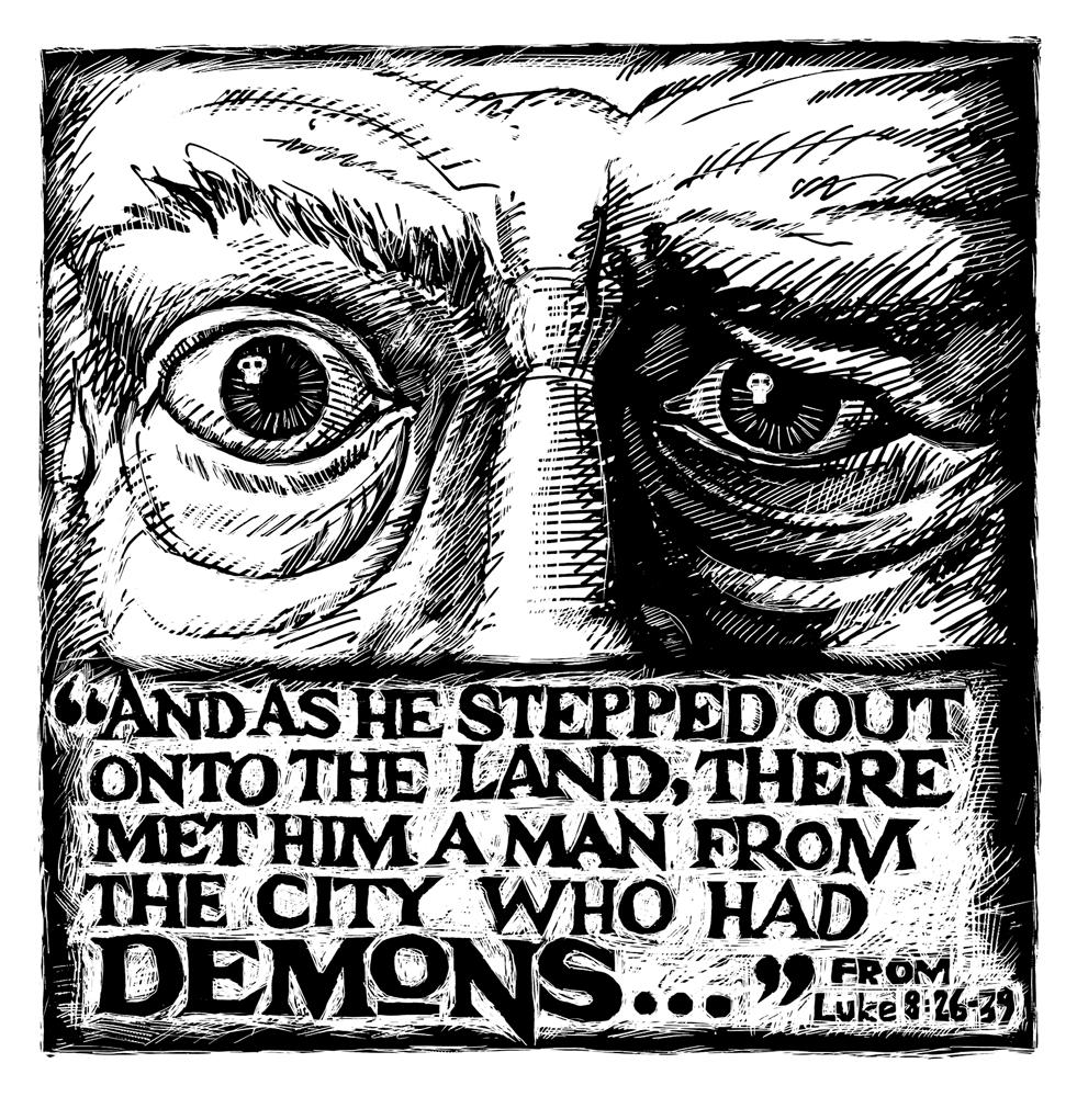 Illustration - Demons (scratchboard 2001)